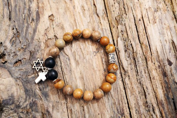 Jasper and onix cross and star David bracelet from Holy Land