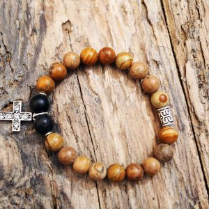 Jasper and onix cross bracelet from Holy Land