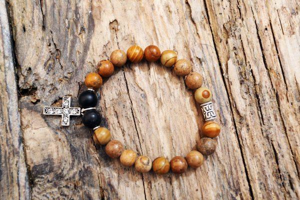 Jasper and onix cross bracelet from Holy Land