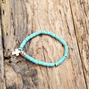 Turquoise stone cross bracelet from Holy Land