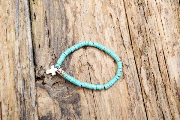 Turquoise stone cross bracelet from Holy Land
