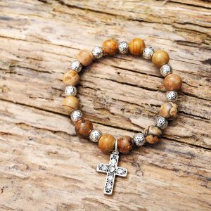 Jasper cross bracelet from Holy Land