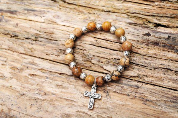 Jasper cross bracelet from Holy Land