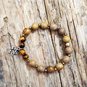 Jasper and tiger eye star David bracelet from Holy Land