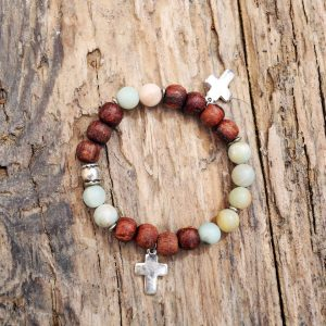 Amazonite and jasper cross bracelet from Holy Land