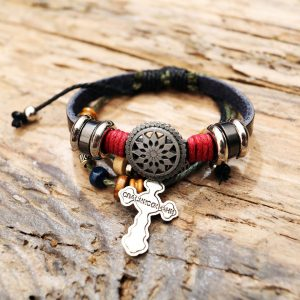 leather cross bracelet from Holy Land